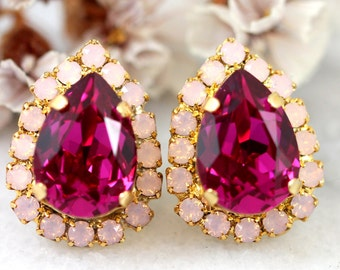Pink Earrings, Pink Fuchsia Stud Earrings, Bridal Fuchsia Earrings, Bridesmaids Earrings, Pink Bridal Earrings, Hot Pink Crystal Earrings,