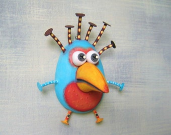 Robin Egg, Original Found Object Wall Sculpture, Bird Wall Art, Wood Carving, Bird Egg, by Fig Jam Studio