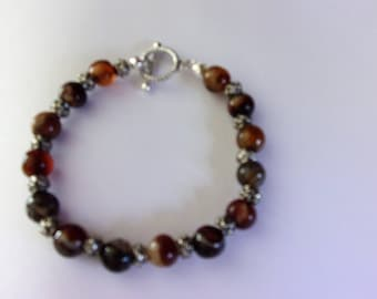 Agate and pewter bracelet