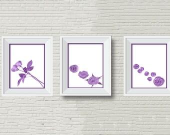 Set of 3 art prints, Purple Roses (can mix & match blue pink roses) Hi Res Print Downloads, Floral prints artwork, mother's day, bride gift