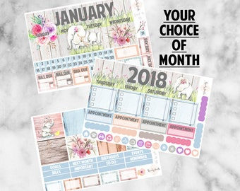 W189 Monthly Kit EC Vertical, Forget Me Not, January 2018, Monthly Planner Kit, Planner Stickers, Elephants, February 2018, March, Spring