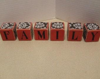 Family, Family Wood Blocks, Wooden Blocks spelling Family, Red Black White Hand painted Blocks, Living Room Decor, Family House Warming Gift