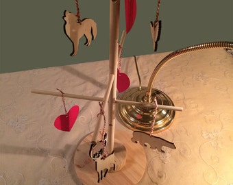 Four Arctic animals, reindeer, polar bear, snow owl, arctic wolf, Christmas ornaments, laser cut, birch
