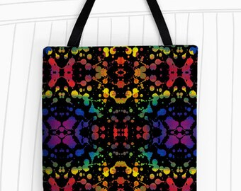 Rainbow Splash White or Black Tote Bag. Art Tote Bag, Reusable Bags, Large Tote Bag, Tie-Dye Tote Bag, Rorschach, Travel Bag
