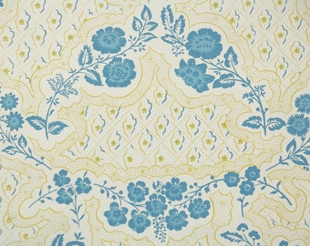 1950s Vintage Wallpaper by the Yard - Nancy McClelland - Blue and Yellow Floral
