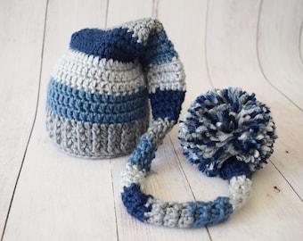 Newborn Elf Photo Prop Hat - Striped Elf Hat - Newborn Stocking Hat - Baby Elf Hat - Boy Newborn Hat - Long Tail Elf Hat - Blue and Grey Elf