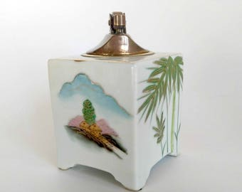Vintage Lighter Ceramic /  Fujita Kutani Japan / Square Tabletop Lighter / Hand Painted Lighter / Cigarette Lighter / South Pacific Design