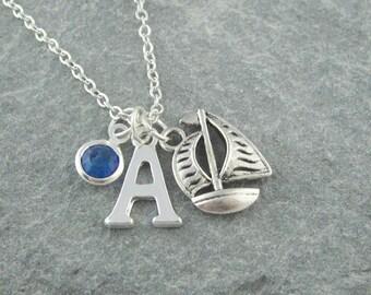 Sail boat necklace, silver sailboat pendant, initial necklace, swarovski birthstone, personalized jewelry, nautical jewelry, yacht necklace