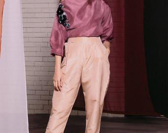 Maarimaia Oversized Off Shoulder Silk Top Purple | Boat Neck  | Wide neck | Blouse | Asymmetrical | Embellished | 3d flower | long sleeve