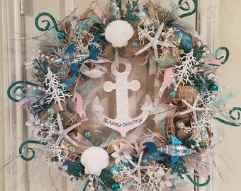 Calling all mermaids! Christmas at the beach burlap wreath! Glitter, anchors, and fish, oh my!