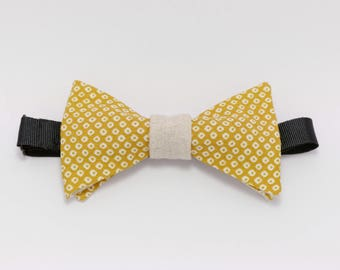 """Bow tie with polka dots beige and yellow """"mustard lover"""""""