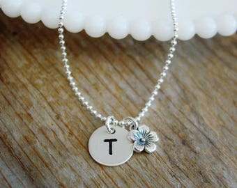 Flower Girl Initial Necklace, Personalized Gift, Sterling Silver Necklace, Flower Girl Thank You Gift, Flower Girl Necklace, Bridesmaid Gift