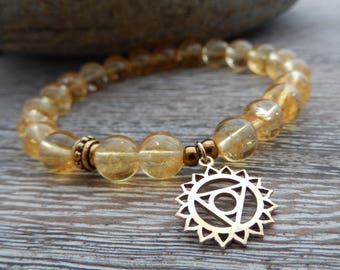 Solar Plexus Chakra Bracelet, Prosperity Bracelet, Yoga Bracelet, Wrist Mala, Citrine Bracelet, Gemstone Bracelet, Reiki Energy