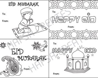 Happy Eid Mubarak Printable coloring cards, Digital File, Pdf - Perfect for Class Party!