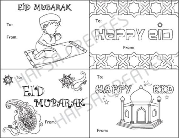 Happy Eid Mubarak Printable coloring cards Digital File Pdf