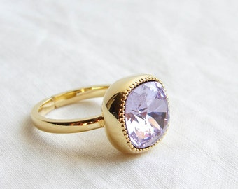 Cocktail Ring. Swarovski Cushion Cut Violet Solitaire Gold Ring. Adjustable Ring. Gift fo Her. Jewelry under 25. Simple Modern Jewelry