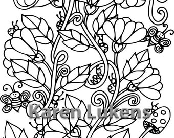 Happy Blooms, 1 Adult Coloring Book Page, Printable Instant Download