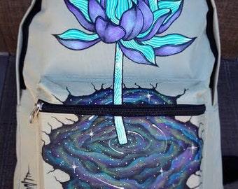 "Hand-painted Backpack w/ Original ""NebuLotus"" Design"