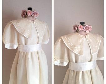 STRASBURG SILK LACE Dress, First Communion, Flower Girl, Tea, Birthday, Heirloom Collection, Vintage, Mori Girl  Embroidered, Elegant!