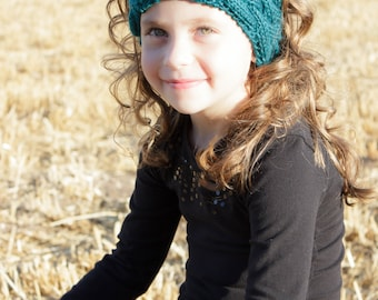 Teal Woven Cabled Knit Headband, Earwamer - Ready To Ship, Adult, Child, Winter Headband, Cabled, Hand Knit, Teal, Woven Headband,