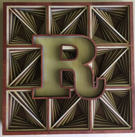 Inlaid Initials, Capital letters, Layered Art, Laser Cut.