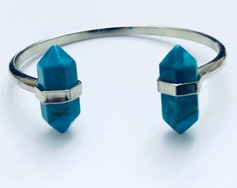 Turquoise point cuff bracelet