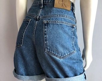 Vintage Women's 90's CK Jeans, Denim Shorts, High Waisted (L)