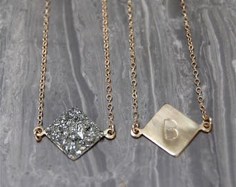 Crushed Crystal Druzy Mini Diamond Initial Necklace - REVERSIBLE