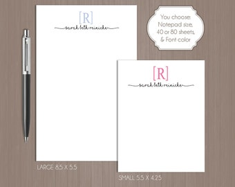 Personalized Initial Notepad . Personalized Note Pad .  Large Notepad . Small Notepad . Boutique . Custom Notepad . Monogram . Custom