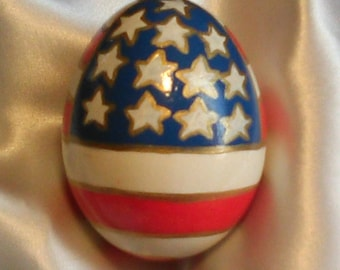 Hand Painted Egg/American Flag