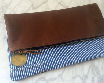 Foldover Clutch - Leather + Vintage Railroad Striped Overalls