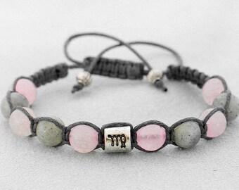Rose quartz bracelet labradorite jewelry cord bracelet zodiac virgo constellation fashion accessory for women bracelet for men birthday gift
