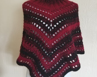 Crochet Knit Poncho Wrap Black and Red