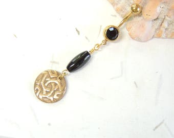 Bronze Tribal Dangle Belly Ring with Black Onyx, Gold Belly Ring, Navel Piercing, Unique Belly Ring