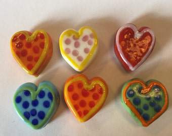 6 Lampwork Heart Beads/Pendants