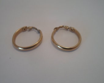 "Vintage Gold Plated Brass Hoop Earrings Chic 1.20"" Clips Chic Styling Rounded Edges Super Hip Mod"