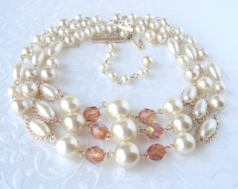 Vintage Beaded Necklace 3 Strand Pearl Amber AB Crystal JAPAN 1950s Costume Jewelry Wedding Bridal Formal Cocktail Theater Stage Halloween