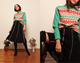 1990s Rayon Midi Skirt with 3D Floral Applique Trim Detail Sheer Overlay size Medium