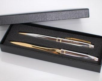 Engraved pen set - Personalized pen gift set  -Chrome brass ballpoint pen & matching letter opener
