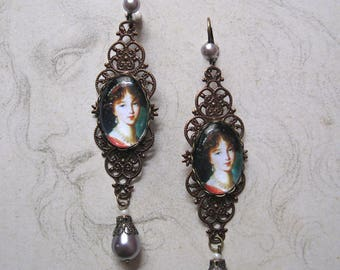 Earrings detail of a painting by E. Vigée Lebrun bronze and copper, glass dome.