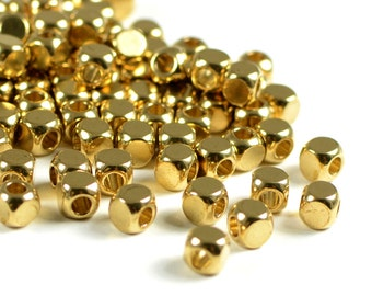 Raw Brass Beads, 4mm, Round Cube Beads, Solid Brass Beads, Large Hole Beads, 2.6mm