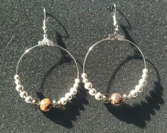 Mahogany Obsidian/ Silver Bead & Hoop Earrings