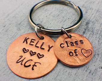 Class of 2018 Custom Keychain, Lucky Penny Keychain, Graduation Gift, Keepsake Keychain, Penny Year, College/High School Name