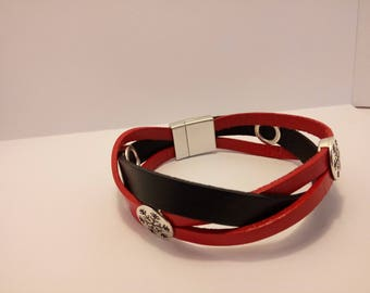 Red and black braided leather bracelet - Silver Clasp loving