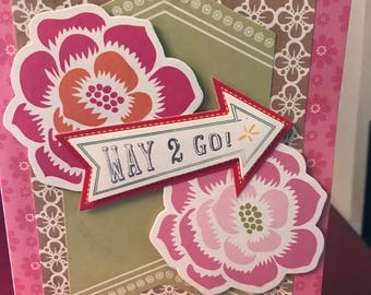 handmade greeting card WAY TO GO congratulations I knew you could do it!