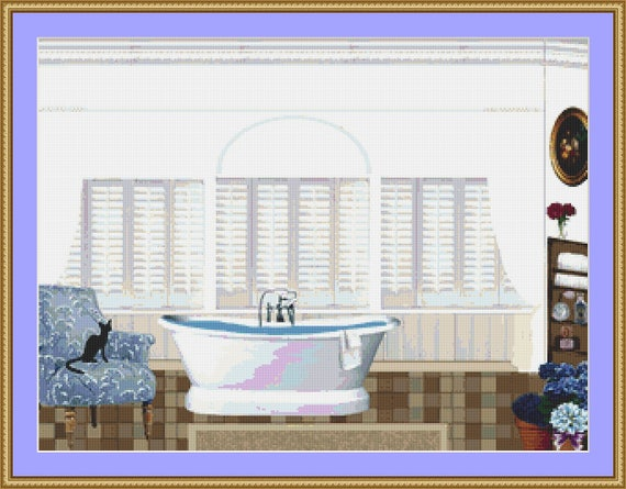 Cat Sitting In The Bathroom Cross Stitch Pattern /Digital PDF Files /Instant downloadable