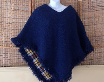 Vintage Wool Mohair Poncho Reversible Yellow Navy Blue Plaid