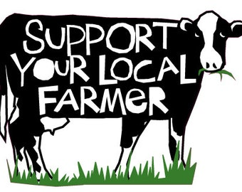 Support your local Farmer bumper sticker black and white cow die cut decal