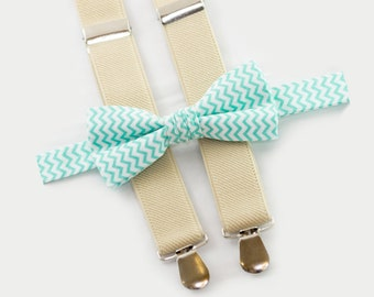 Baby Suspenders And Baby Bow Tie Mint Chevron Bowtie & Beige Suspenders Baby Wedding Outfit