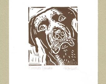 Chocolate Labrador Dog - Linocut Original hand pulled Relief Print